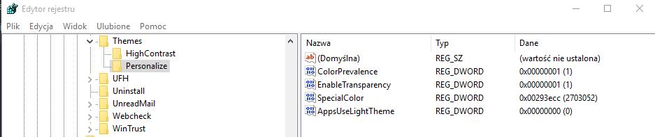 regedit dark Uaktywniamy czarny styl w Windows 10