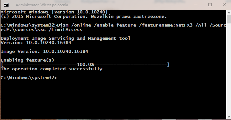 cmd net Instalujemy .NET Framework 3.5 w Windows 10 w trybie Offline