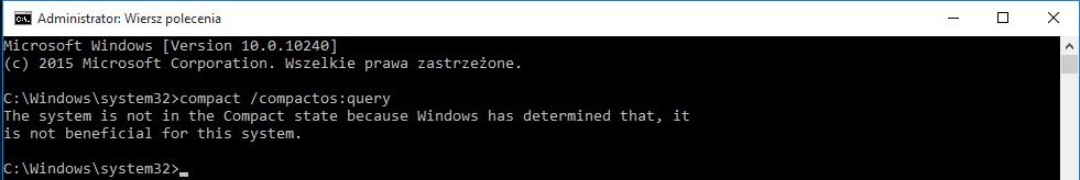 compactos query Kompresujemy system Windows 10 aby zaoszczędzić miejsce na dysku.