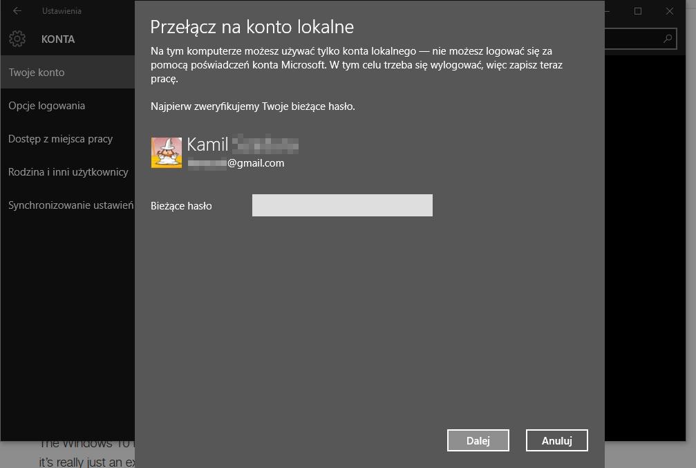 konto lokalne Zmieniamy wygląd Windows 10 aby przypominał Windows 7