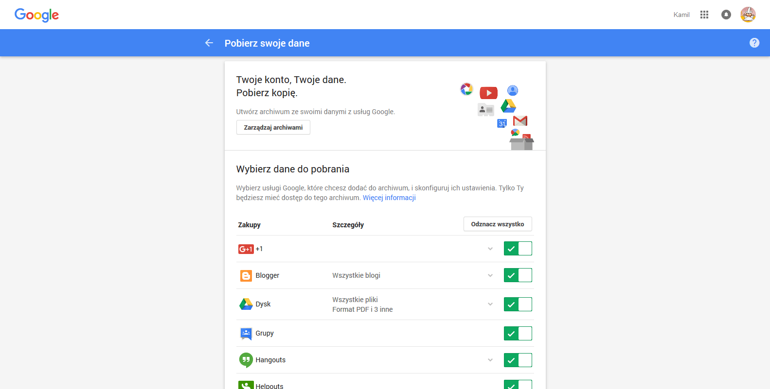 Narzędzia do zarządzania danymi – pobierz swoje dane   2015 11 02 15.02.01 Tworzymy kopię zapasową naszego profilu Google