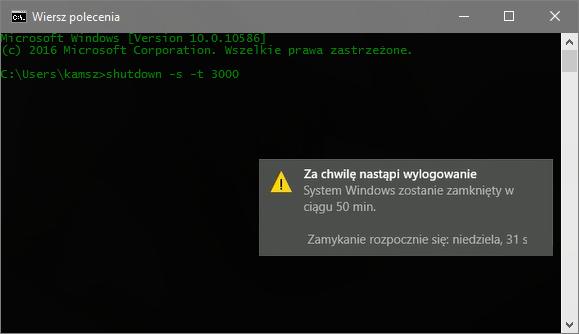 shutdown  Ustawiamy automatyczne wyłączenie komputera