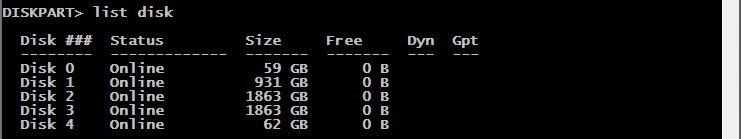 diskpart lists disk Naprawiamy uszkodzony nośnik danych.