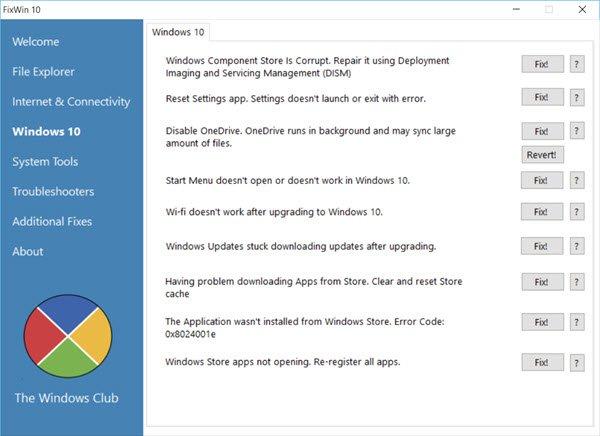 FixWin 10 for Windows 10 7 mało znanych aplikacji przydatnych w Windows