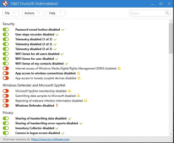 ooshutup 7 mało znanych aplikacji przydatnych w Windows