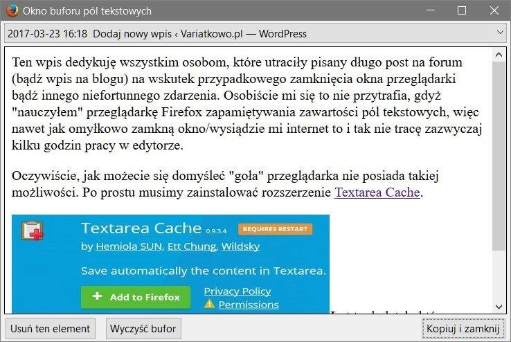 2017 03 23 16h19 00 Jak automatycznie tworzyć kopie zapasowe wpisywanych tekstów w przeglądarce Firefox