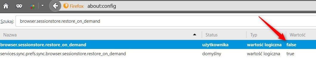 clickload Wyłączamy opóźnione ładowanie kart po przywróceniu sesji w Firefox