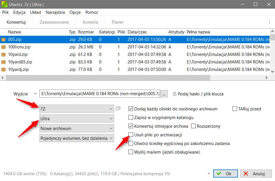 Zrzut ekranu 79 Masowo konwertujemy archiwa *.zip do *.7z