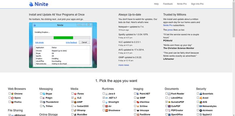 Ninite Prosty sposób na instalowanie podstawowych aplikacji po reinstalacji Windows