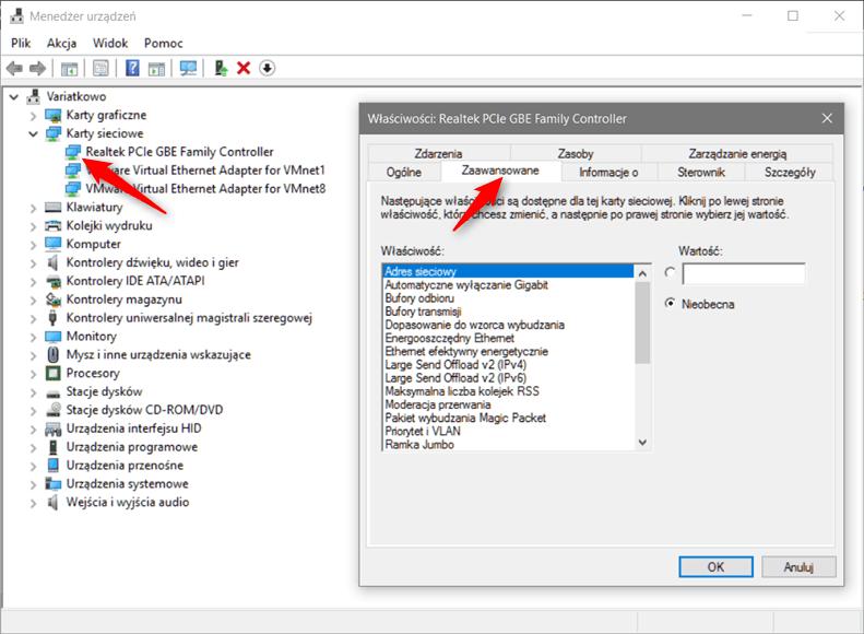 device 2 Zmianiamy adres MAC karty sieciowej