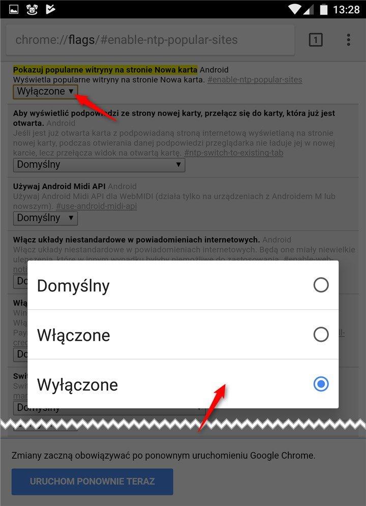 flag 1 Usuwamy sugestie z nowych kart w Google Chrome na Androidzie
