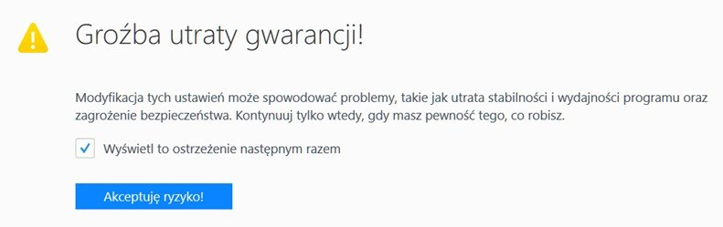 firefox warninig Uaktywniamy ukrytą funkcję robienia screenshotów w Firefox