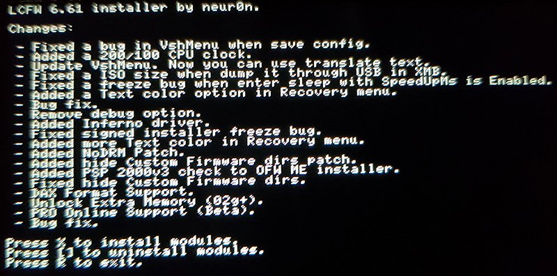 instaler menu Instalacja custom firmware na Playstation Portable