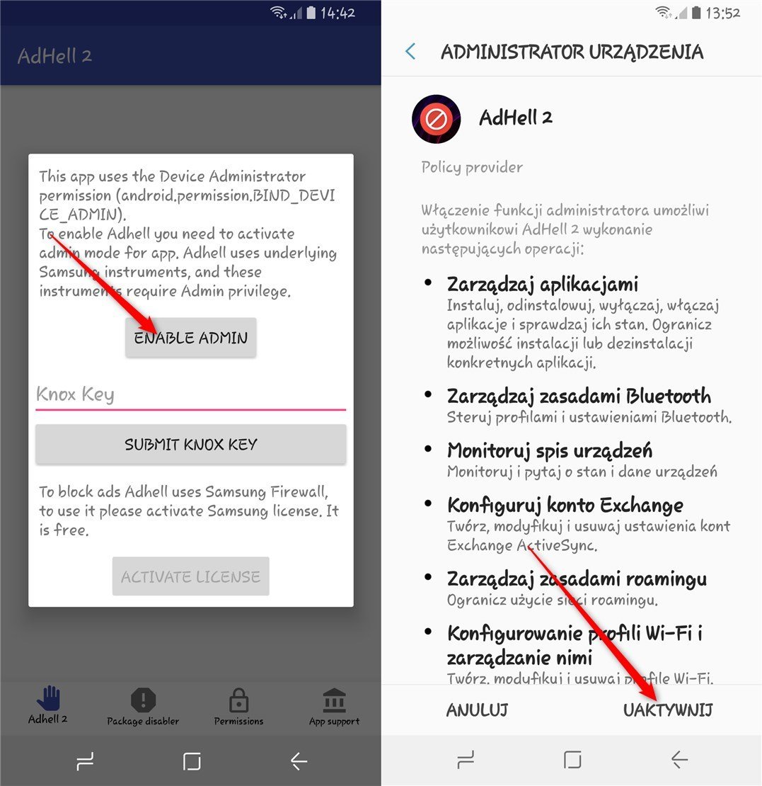 enable admin Pozbywamy się reklam w Samsungu Galaxy S8/S8+ bez ROOTa