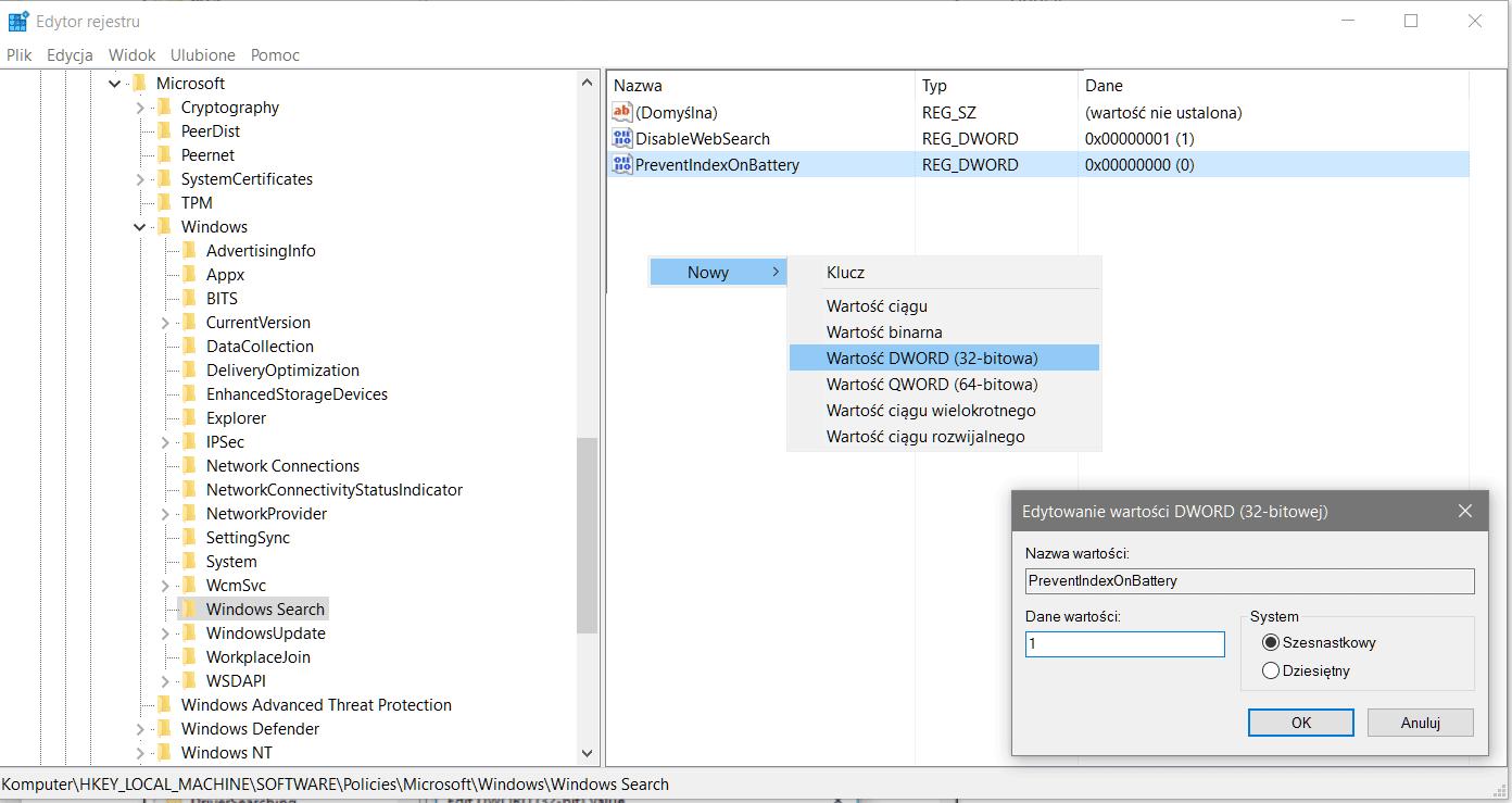 prebent Wyłączamy indeksowanie plików gdy laptop działa na zasilaniu bateryjnym