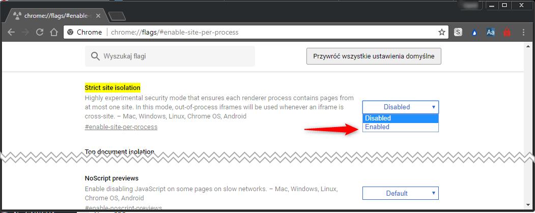 Zrzut ekranu 6 Uaktywniamy strict site isolation w Google Chrome