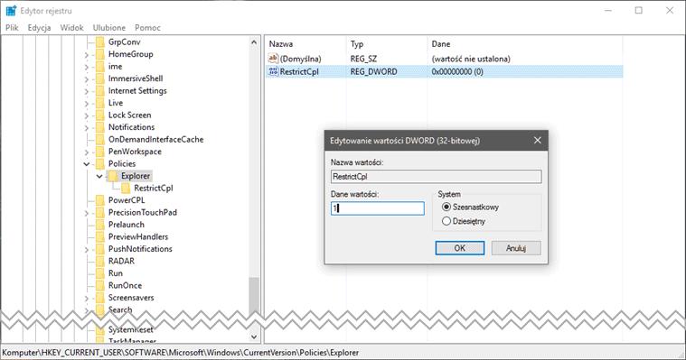 restric Ukrywamy aplety panelu sterowania w systemie Windows