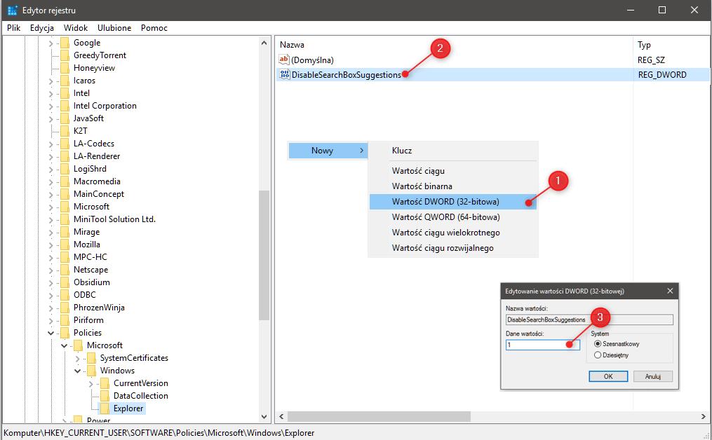 disable sugegestiojns Wyłączamy historię wyszukiwania w Windows 10