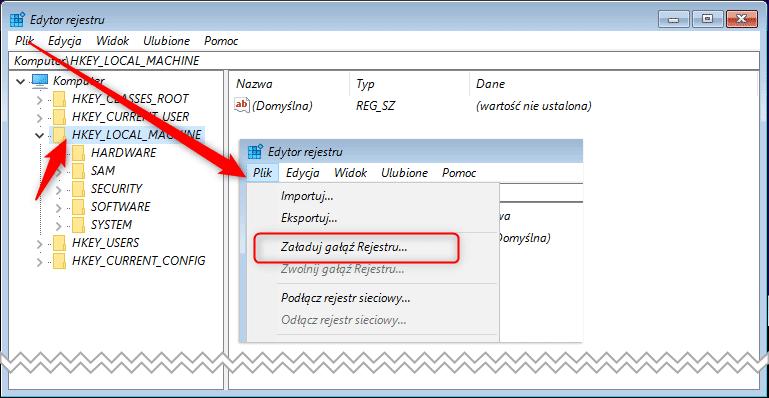 load hive Defragmentujemy rejestr Windows