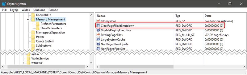 regedit ClearPageFileAtShutdown Co zrobić, aby system Windows zamykał się szybciej