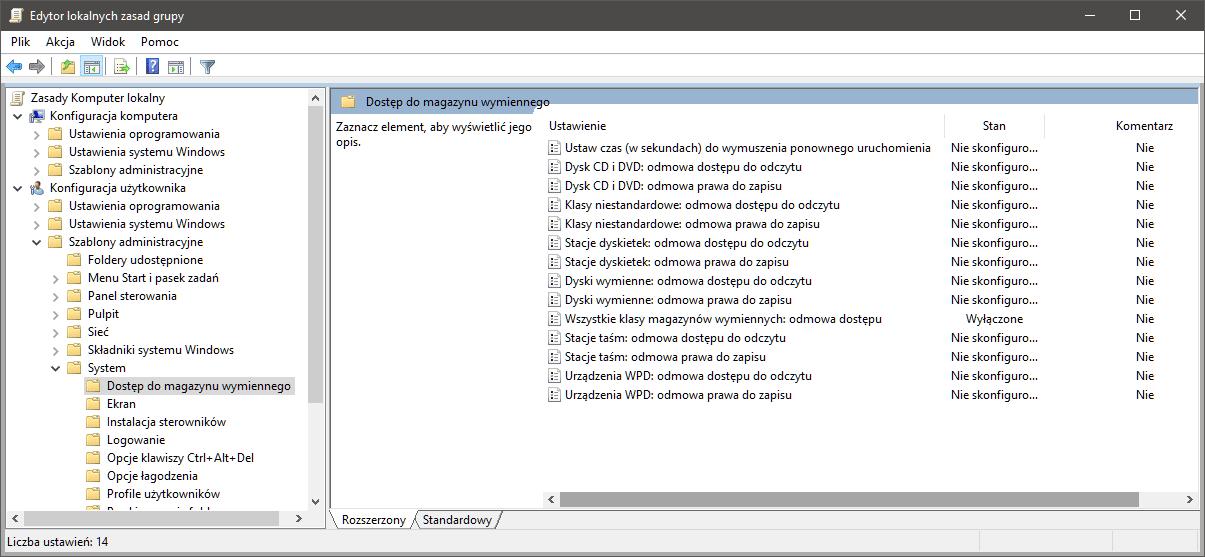 gpedit usb dyski Blokujemy dostęp do nośników zewnętrznych w Windows
