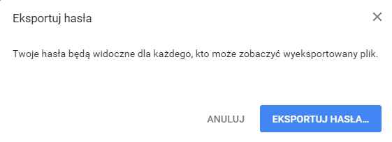chrome eksport hase potwierdzeniel Jak zapisać loginy i hasła do pliku w Google Chrome