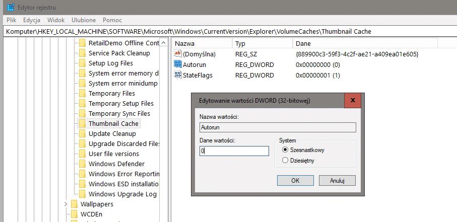 2018 10 07 11h26 16 Uniemożliwiamy Windows 10 automatyczne usuwanie podglądów miniaturek