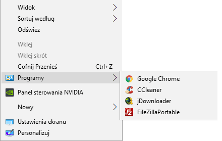 Zrzut ekranu 32 Dodajemy skróty do aplikacji w menu kontekstowym
