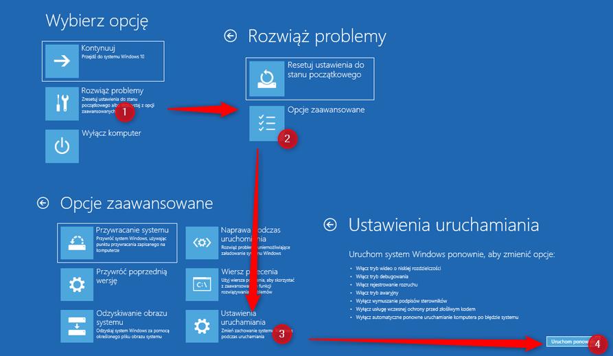 Zrzut ekranu 40 kopia Uruchamiamy Windows 10 w trybie awaryjnym