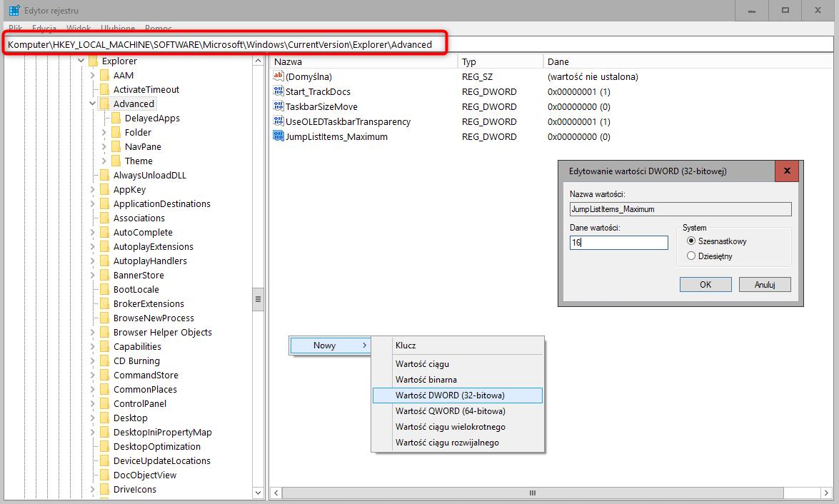 Zrzut ekranu 124 Edytujemy ilość wyświetlanych pozycji na liście szybkiego dostępu (jump list)