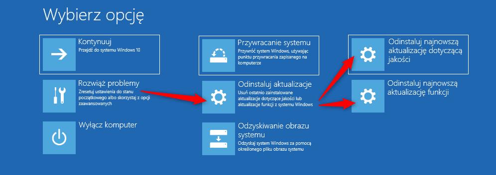 Bez nazwy 1 6 Jak odinstalować ostatnią aktualizację systemu Windows 10 gdy komputer się nie uruchamia
