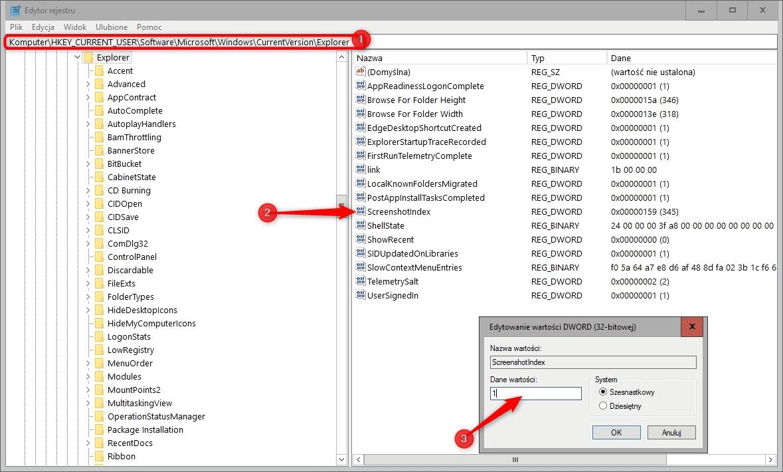 Bez nazwy 1 Resetujemy licznik zrzutów ekranu w Windows 10