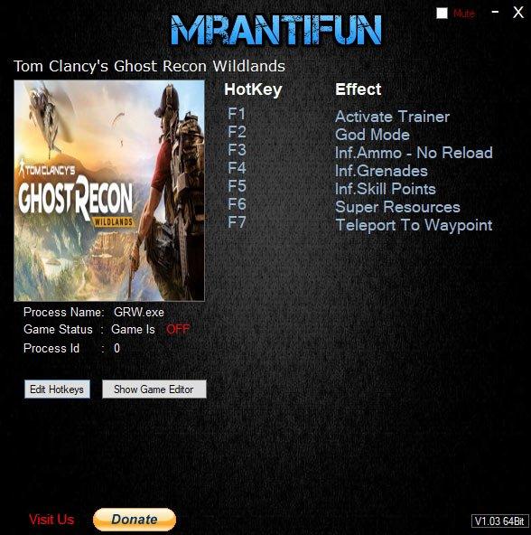 2019 06 17 17h39 20 1 Tom Clancy's Ghost Recon Wildlands – Trainer +7 v3747852 [MrAntiFun]