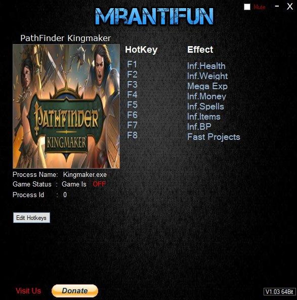 pathfinder 1 Pathfinder Kingmaker – Trainer +8 v2.0.2 [MrAntiFun]