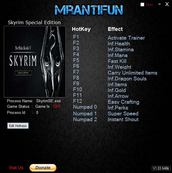 2019 06 20 11h16 52 The Elder Scrolls 5 Skyrim Special Edition – Trainer +14 v1.5.73.0 [MrAntiFun]