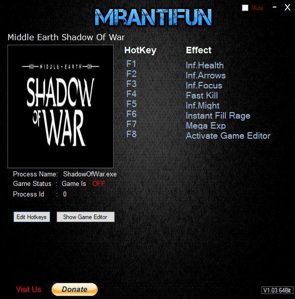 2019 07 14 14h38 12 Middle earth: Shadow of War   Trainer +9 v1.21 [MrAntiFun]