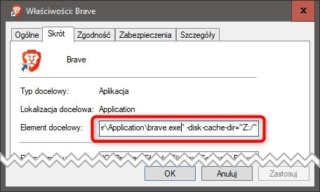 Bez nazwy 1 Przenosimy cache przeglądarki Brave do ramdysku