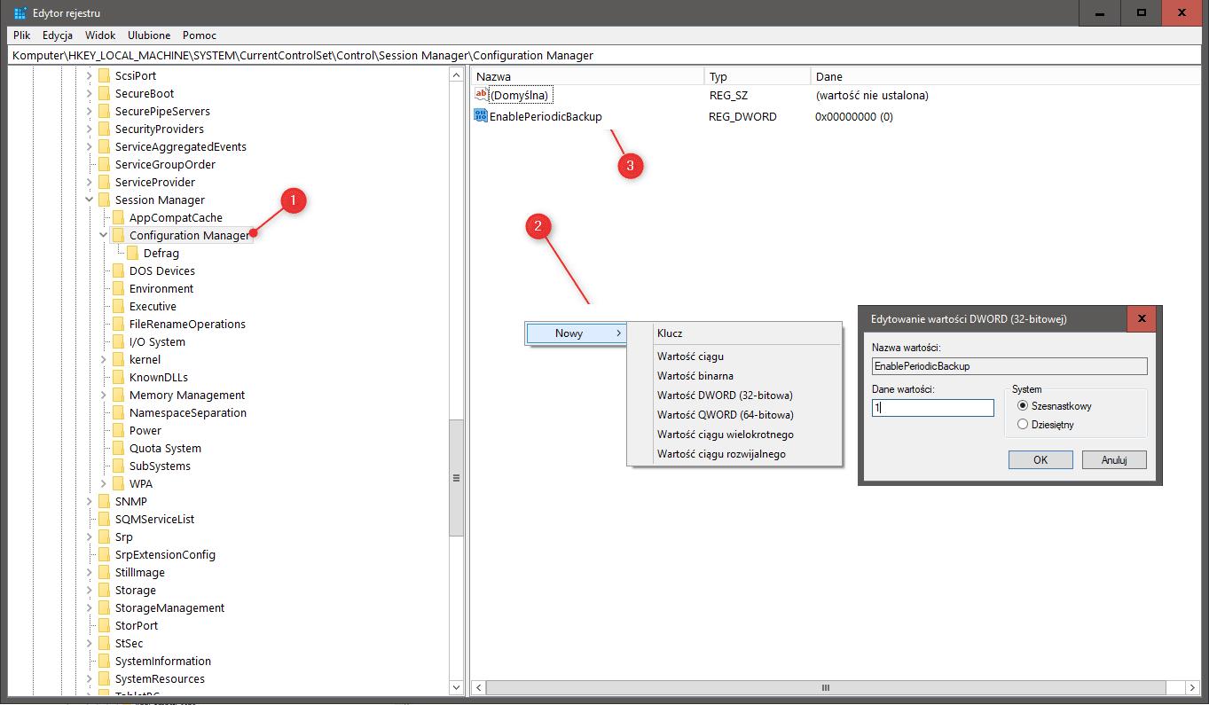 Zrzut ekranu 264 Przywracamy automatyczne tworzenie kopii rejestru przez Windows 10