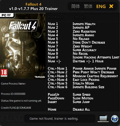 2019 07 11 15h50 59 Fallout 4: Trainer (+20) [1.0   1.7.7] [FLING]