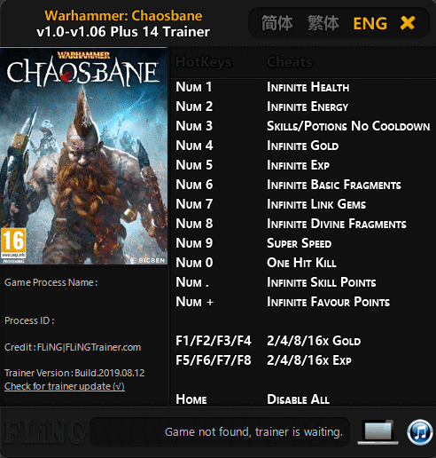 2019 08 15 08h13 00 Warhammer: Chaosbane   Trainer +14 v1.0 v1.06 [FLING]