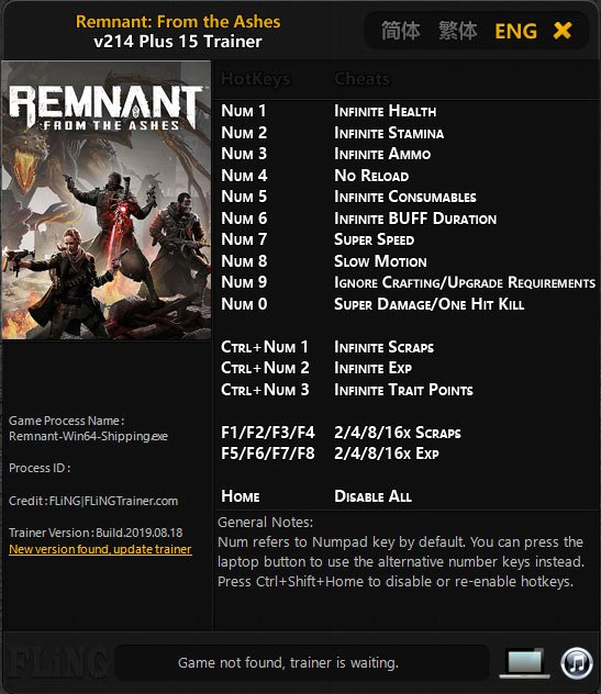 2019 08 21 13h27 15 Remnant: From the Ashes   Trainer +15 v214 [FLING]