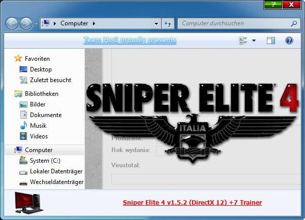 2019 09 05 15h36 15 Sniper Elite 4: Trainer +7 v1.5.2 [HoG]