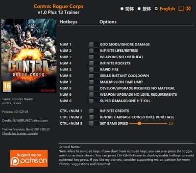 1 20 Contra: Rogue Corps   Trainer +13 v1.0 [FLING]