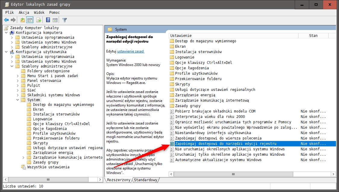 Bez nazwy 1 Blokujemy dostęp do edytora rejestru w systemie Windows