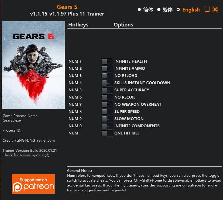 2020 01 23 08h44 39 Gears 5: Trainer +11 v1.1.15 v1.1.97 [FLING]