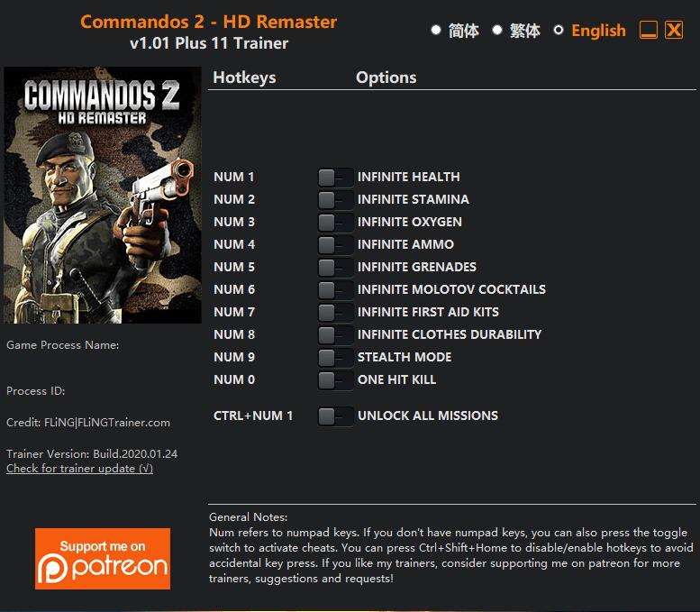 2020 01 26 08h54 24 1 Commandos 2   HD Remaster: Trainer +11 v1.01 [FLING]