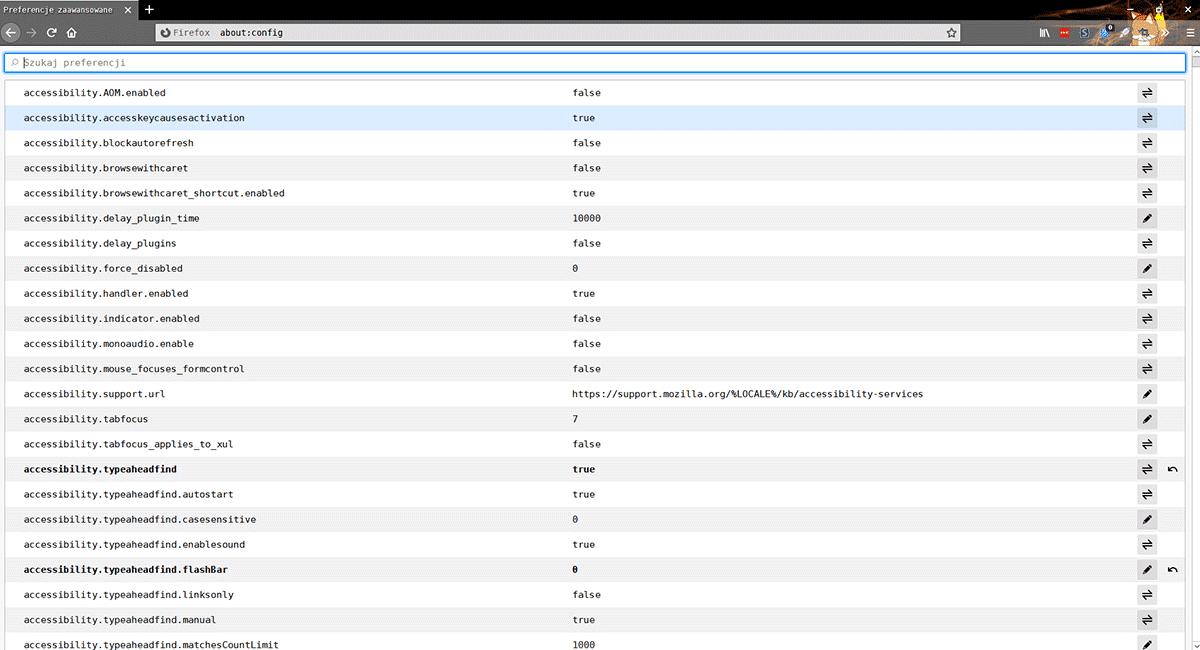 2020 02 24 13h29 33 Przywracamy klasyczny wygląd strony about:config w Mozilla Firefox