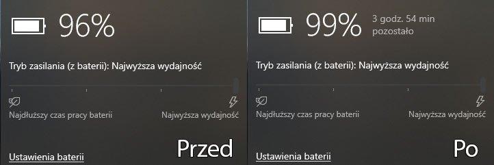 Zrzut ekranu 269 Włączamy wyświetlanie informacji o pozostałym czasie pracy na baterii w Windows 10