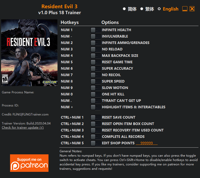 2020 04 05 10h14 27 Resident Evil 3: Trainer +18 v1.0 [FLING]
