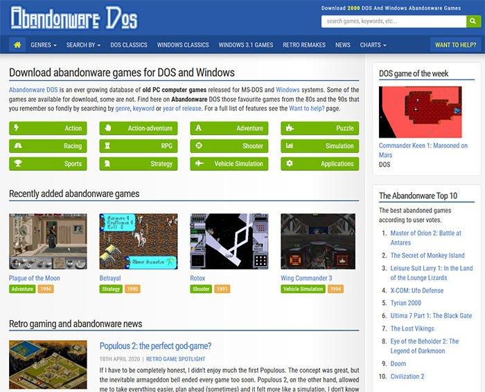 Abandonware DOS Download old PC games for DOS and Windows Oto 5 stron z których możecie pobrać stare gry zupełnie za darmo.
